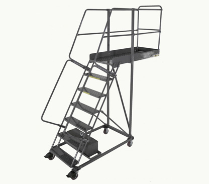 Pharmaceutical Supplies, Steel rolling ladder with platform, steel ladders, aluminum ladders, stainless steel ladders, step stools, Ballymore Ladders in Houston, Texas